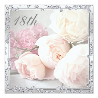 Romantic Roses & Diamonds 18th Birthday Party Card