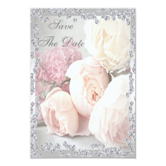 Romantic Roses & Diamonds 40th Save The Date Card