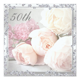Romantic Roses & Diamonds 50th Birthday Party 5.25x5.25 Square Paper Invitation Card