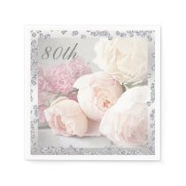 Romantic Roses & Diamonds 80th Birthday Serviettes Paper Napkin