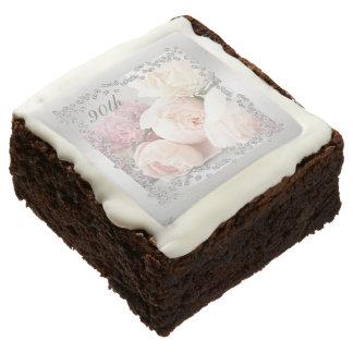 Romantic Roses & Diamonds 90th Birthday Brownie
