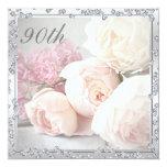 Romantic Roses & Diamonds 90th Birthday Party 5.25x5.25 Square Paper Invitation Card