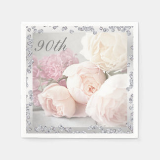 Romantic Roses & Diamonds 90th Birthday Serviettes Disposable Napkin