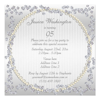 Romantic Roses Diamonds 95th Birthday Party Personalized Invitation