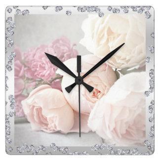 Romantic Roses & Diamonds Square Wall Clock