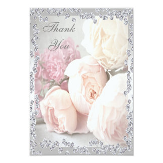 Romantic Roses & Diamonds Thank You Card