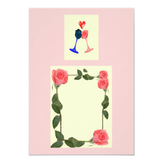 romantic roses engagement or wedding invitation