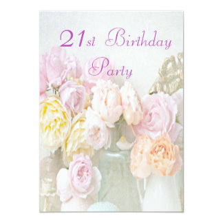 Romantic Roses in Jars 21st Birthday Party Card