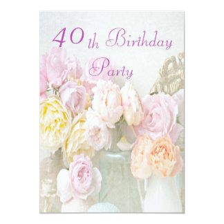 Romantic Roses in Jars 40th Birthday Party 5x7 Paper Invitation Card