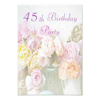 Romantic Roses in Jars 45th Birthday Party Card