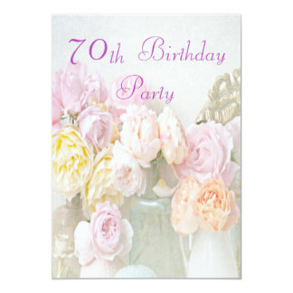 Romantic Roses in Jars 70th Birthday Party Card
