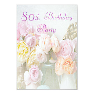 Romantic Roses in Jars 80th Birthday Party 5x7 Paper Invitation Card
