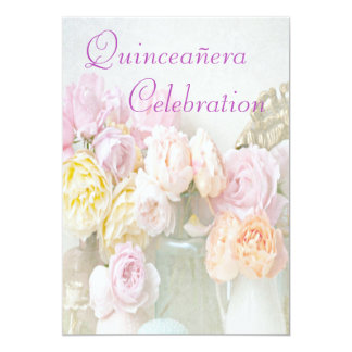 Romantic Roses in Jars Quinceañera Card