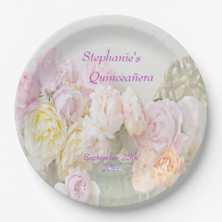 Romantic Roses in Jars Quinceañera Celebration 9 Inch Paper Plate