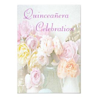 Romantic Roses in Jars Quinceañera 5x7 Paper Invitation Card