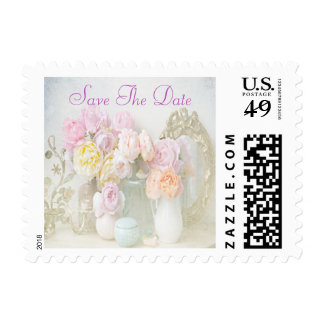 Romantic Roses in Jars Save The Date Postage Stamp