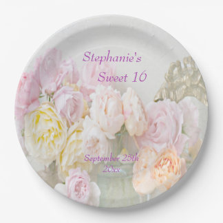 Romantic Roses in Jars Sweet Sixteen 9 Inch Paper Plate
