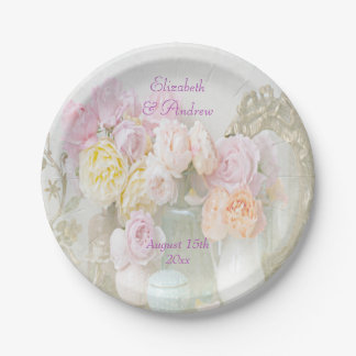 Romantic Roses in Jars Wedding Paper Plate