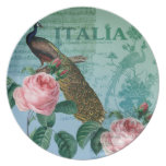 Romantic Roses Musical Peacock Dinner Plates