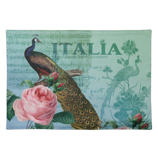 Romantic Roses Musical Peacock Placemat