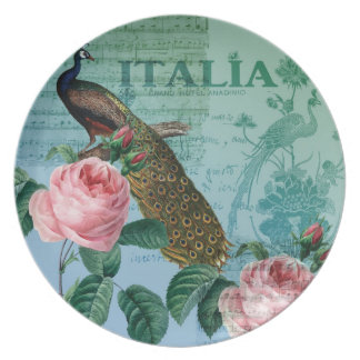 Romantic Roses Musical Peacock Party Plates