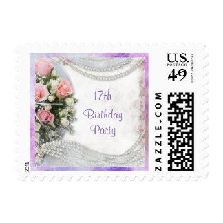 Romantic Roses & Pearls 17th Birthday Postage Stamp
