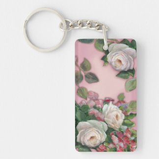 Romantic Roses Single-Sided Rectangular Acrylic Keychain