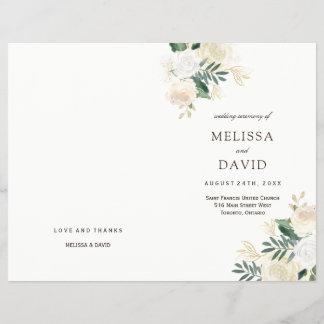 Romantic Roses Woodland Wedding Programs