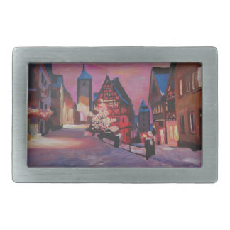 Romantic Rothenburg Tauber Germany in winter Rectangular Belt Buckle