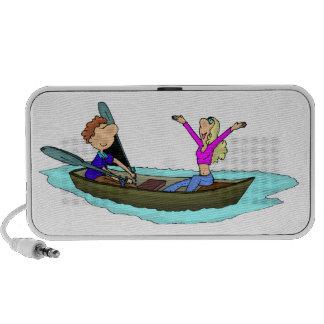 Romantic Rowboat Couple Doodle Speakers