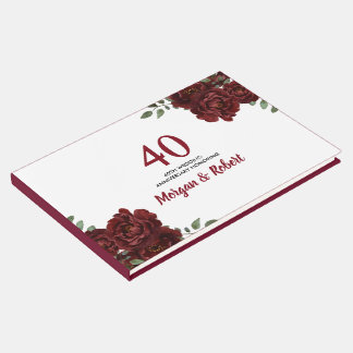 Romantic Ruby Red Rose 40th Wedding Anniversary Guest Book