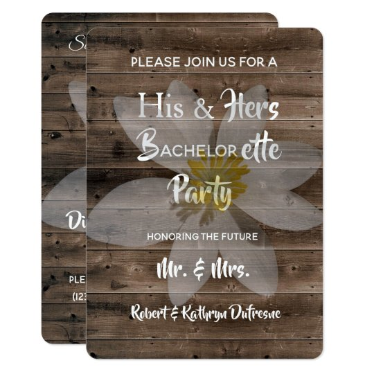 Romantic Rustic Bachelor Bachelorette Party Invitation
