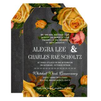 Romantic Rustic Chalkboard Heirloom Roses Card