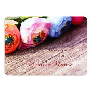 Romantic rustic country ranunculus wreath card