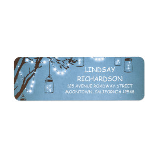 Romantic Rustic Fireflies Mason Jars Blue Wedding Label