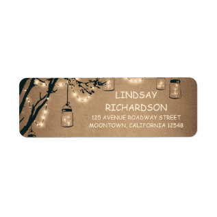 Romantic Rustic Fireflies Mason Jars Wedding Label at Zazzle