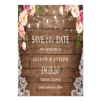 Romantic Rustic Floral String Light Save the Date Magnetic Card