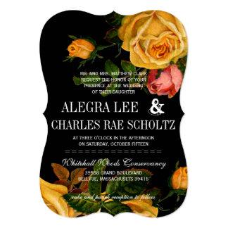 Romantic Rustic Heirloom Roses on Black Card