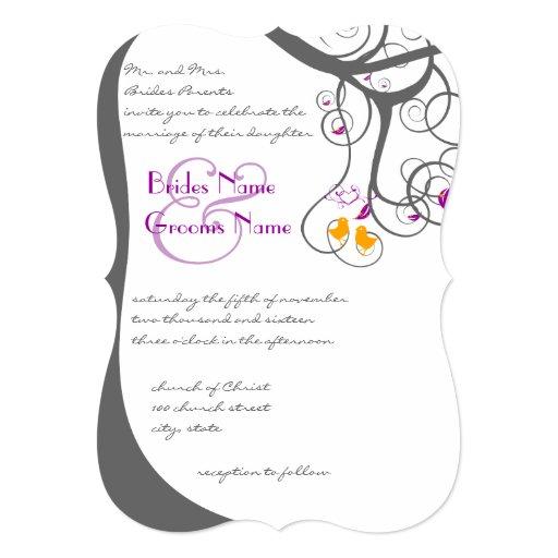"Romantic Rustic Love Bird Wedding Invitation 5"" X 7"" Invitation Card"