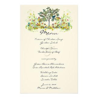 Romantic Rustic Lovebird Flower Swirl Wedding Menu Stationery