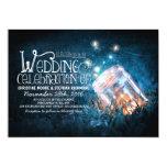 Romantic rustic mason jar & fireflies wedding 5x7 paper invitation card