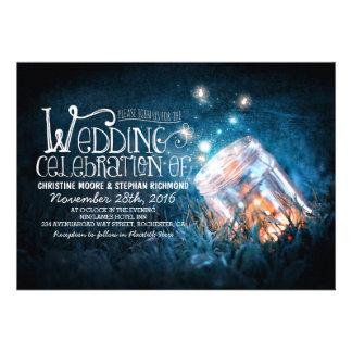 Romantic rustic mason jar & fireflies wedding invitations