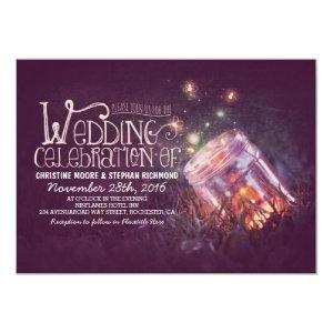 Romantic rustic mason jar & fireflies wedding personalized invitation