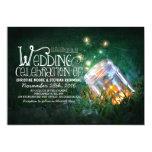 "Romantic rustic mason jar & fireflies wedding 5"" x 7"" invitation card"
