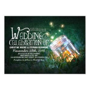 Romantic rustic mason jar & fireflies wedding custom announcements