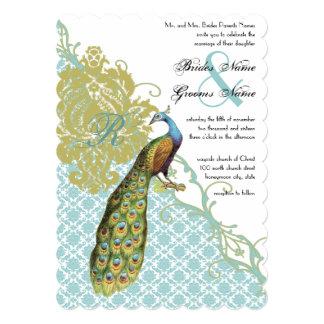 Romantic Rustic Mint Peacock Damask Wedding 5x7 Paper Invitation Card