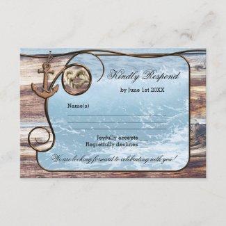 Romantic Rustic Nautical Wedding RSVP Card