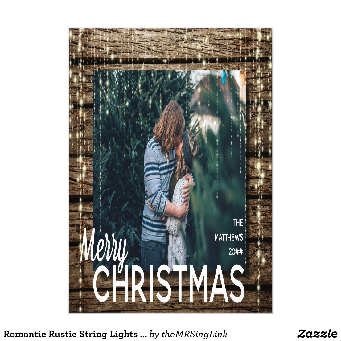 Romantic Rustic String Lights Christmas Card