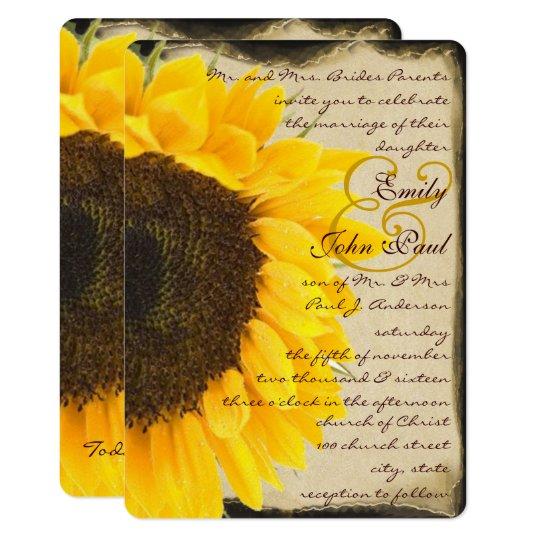 Romantic Rustic Sunflower Wedding Invitation | Zazzle.com
