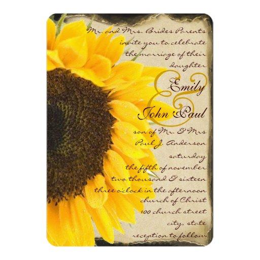 Romantic Rustic Sunflower Wedding Invitation